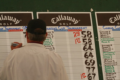 JT - Our official scorekeeper and Pro at the Pole Creek Course, records the results