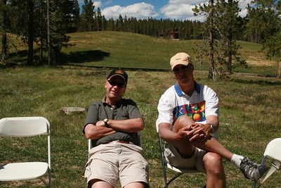 Scott Brown and Russ Farson relax after golf