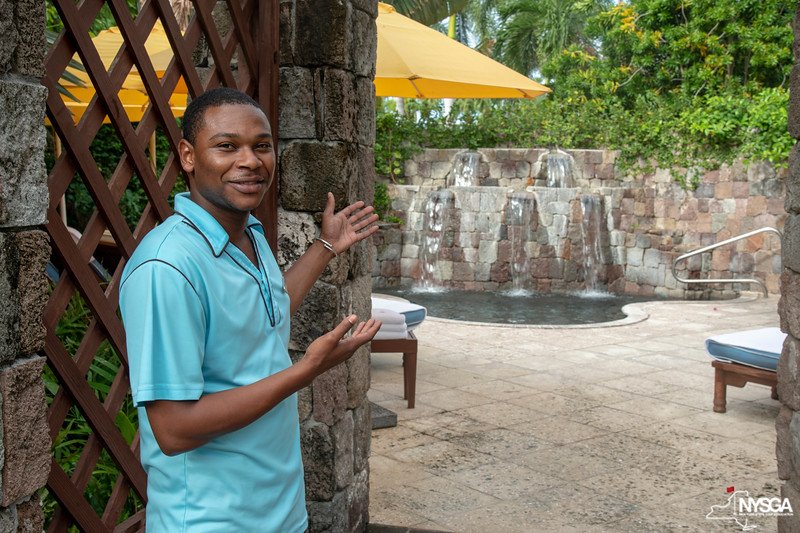 A friendly employee showing us around the spa grounds