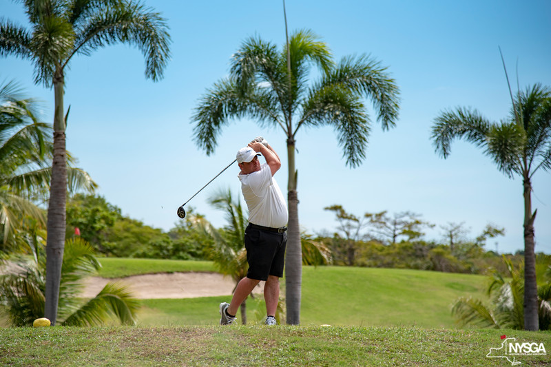 Teeing off at Robert Trent Jones II Course at Four Seasons Resort on Nevis during 2019 St. Kitts & Nevis Admirals Cup
