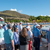 Players wait boat arrival for short ride across the Caribbean Sea to the island of Nevis