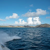 A look back at St Kitts during boat ride to the island of Nevis.