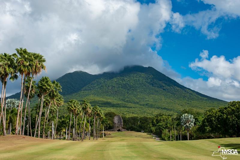 A look towards Mt. Nevis, a dormant volcano that overlooks Robert Trent Jones II Course at Four Seasons Resort