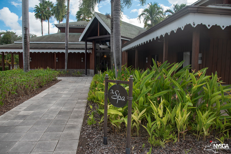 Entrance to the spa at Four Seasons Resort on Nevis, which many of the non-golfing guests spent a relaxing afternoon