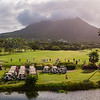 Aerial View of players warming up on Robert Trent Jones Golf Course at Nevis' Four Seasons Resort