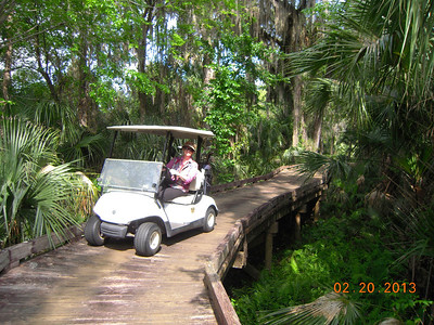 Louise on wooden bridge at Diamondback GC