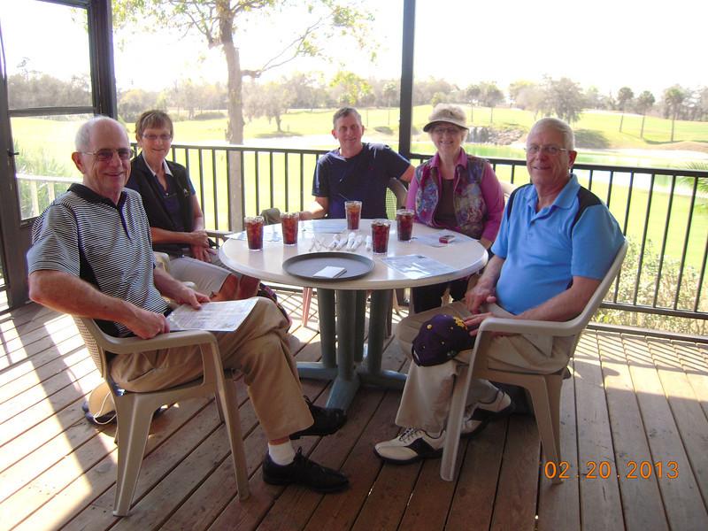 Lunch at Diamondback Golf Course, Haines City, Fl <br /> Lloyd Miller, Liz Miller, Stan Mayer, Louise Miller & Larry Miller