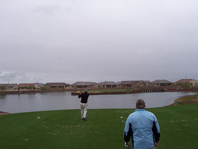 Stan with over the water shot at Florence AZ golf resort