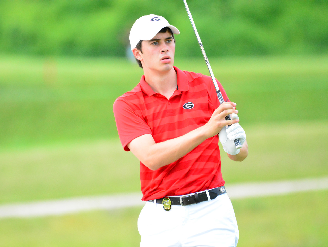 Georgia's Davis Thompson during the NCAA Championships at Blessings Golf Club in Fayetteville, Ark., on Sunday, May 26, 2019. (Photo by Steven Colquitt)