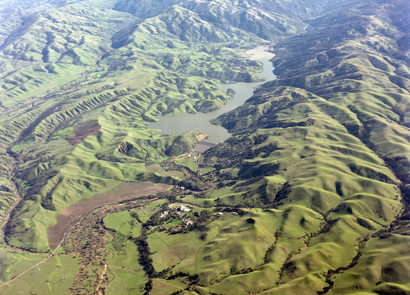 Photo taken 1-7-1982 with Del Valle Lake, Wente and the VA Hospital. Livermore, Ca