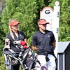 Georgia assistant coach Mimi Burke and Georgia head coach Josh Brewer during the first round of the 46th annual Liz Murphey Collegiate Classic on the University of Georgia Golf Course in Athens, Ga., on Friday, April 13, 2018. (Photo by Steven Colquitt)