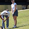 Georgia head coach Josh Brewer and Georgia's Isabella Skinner during the practice round for the 46h annual Liz Murphey Collegiate Classic on the University of Georgia Golf Course in Athens, Ga., on Thursday, April 12, 2018. (Photo by Steven Colquitt)