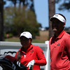 Georgia's Rinko Mitsunaga and head coach Josh Brewer during the Liz Murphey Collegiate Classic at the University of Georgia Golf Course in Athens, Ga. on Saturday, April 8, 2017. (Photo by Cory A. Cole)