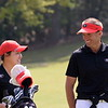 Georgia's Rinko Mitsunaga and Georgia head coach Josh Brewer during the first round of the 46th annual Liz Murphey Collegiate Classic on the University of Georgia Golf Course in Athens, Ga., on Friday, April 13, 2018. (Photo by Steven Colquitt)