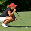 Georgia's Bailey Tardy lines up a putt during the NCAA Regional at the UGA Golf Course in Athens, Ga., on Tuesday, May 9, 2017. (Photo by Steven Colquitt)