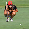Georgia's Harang Lee lines up a putt during the NCAA Regional at the UGA Golf Course in Athens, Ga., on Tuesday, May 9, 2017. (Photo by Steven Colquitt)