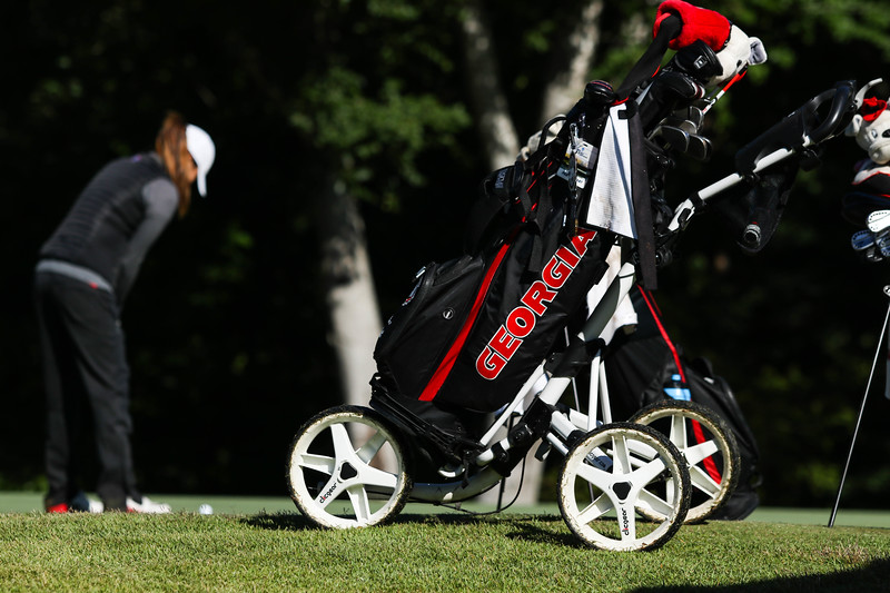 A Georgia golf bag during a practice round of the NCAA Regional at the UGA Golf Course in Athens, Ga.  (Photo by Cory A. Cole / Georgia Sports Communication)