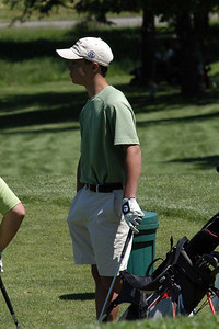 Pat is anxiously waiting for his tee-off ... slightly apprehensive.