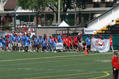 the athletes begin to march in