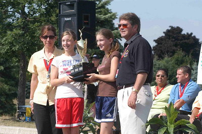 The Wright sisters receives the girls trophy on behalf of the Hamilton Girls Team