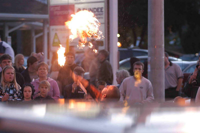unfortunately our kids did not find the evening as hot as this fire breathing busker
