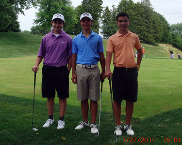 Wednesday July 27, 2011:  David comes down for one his rounds at the Dundas course.  Nick and Pat could not be happier since David came down bearing gifts. All of Pat's attire and Nick's shorts are courtesy of David's recent growth spurt.