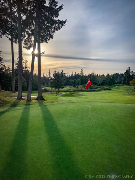 Late-afternoon golf - Wing Point golf club, Bainbridge Island.