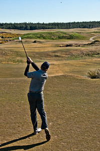 The par 3 8th, with a swale in the middle of the green.