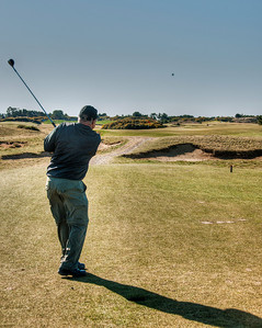 Teeing off on the par 3 12th.  A take-off on the Redan hole in Scotland.