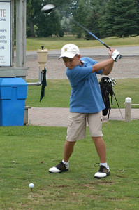 David tees off on the first hole