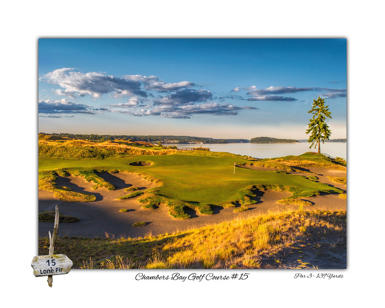 "Chambers Bay Golf Course, Hole #15 (Lone Fir) designed with 2"" border"
