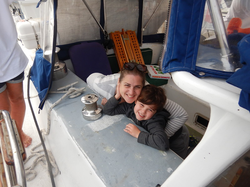 Michelle and Mason came to see us depart from the US, they sort of do the same thing in their rig, traveling around the US.<br /> Note the unfinished paint job in the cabin...oh well we packed some paint.