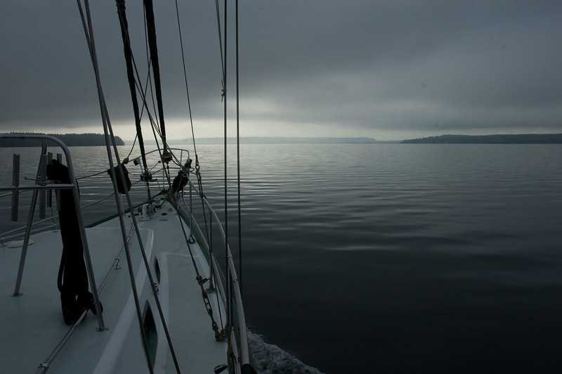 Heading out early in the morning.  Very quiet, no wind, just us moving on the sound.