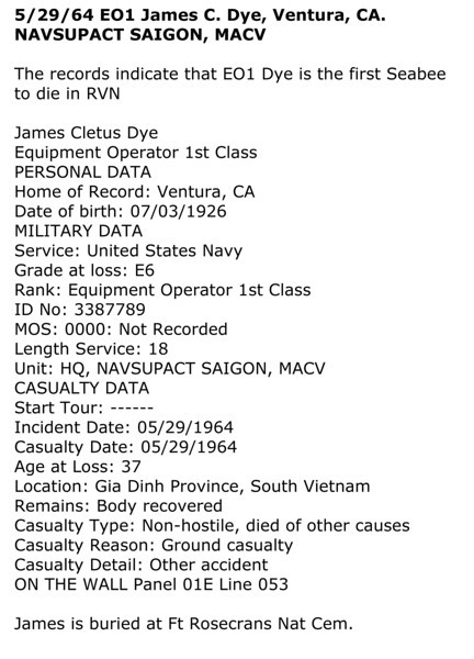 James was the first Seabee to be lost in Vietnam!