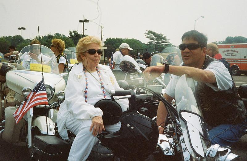 "John Van Dusen's mother riding with ""Rolling Thunder"" at Washington DC. Memorial Day 2007"