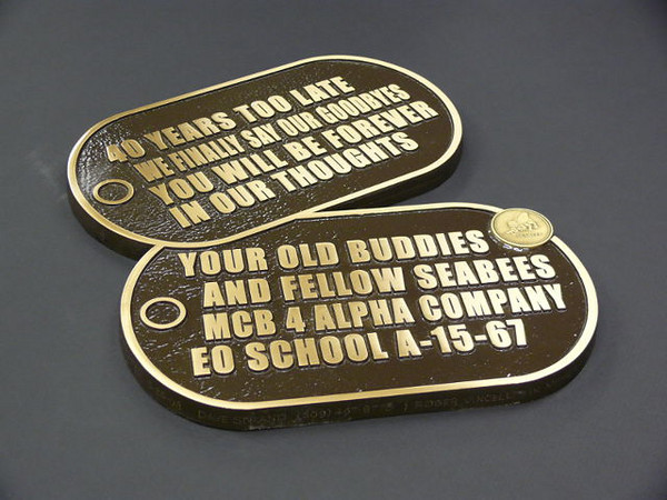 Bronze Dogtags donated by Dave Stand
