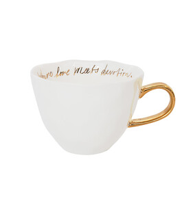 GOOD MORNING CUP WHITE WITH GOLD TEXT INSIDE