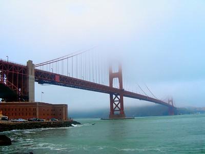Golden Gate Bridge as view from Fort Mason in San Francisco, California