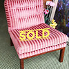 Tufted Red Stripe Chair