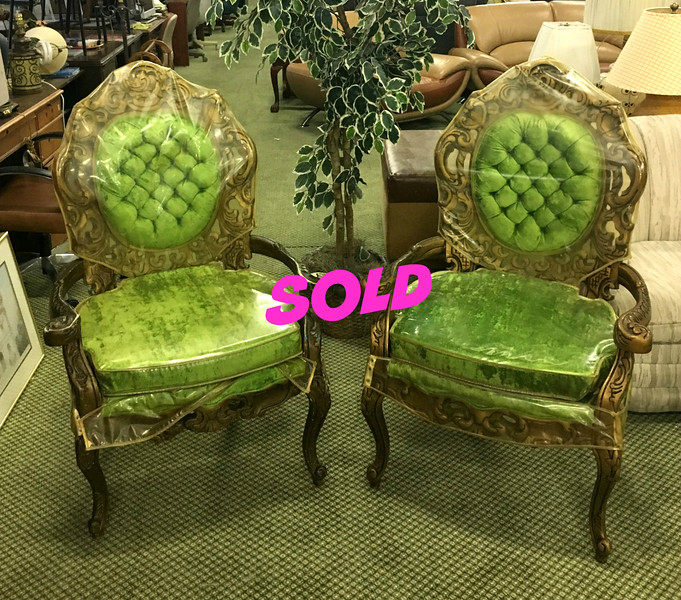 <b>Available at our Livernois Store Location - (313) 345-0884. </b>  Set of 2 Hard-to-Find Ornate Tufted Green French Provincial Accent Chairs in Excellent Condition.