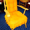 Burnt Orange Upholstered Accent Chair.  26 x 23 x 34.  <b>$35</b>