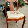 Solid Wood Beige Needle Point Accent Chair.  18 x 17 x 32.  <b>$50</b>