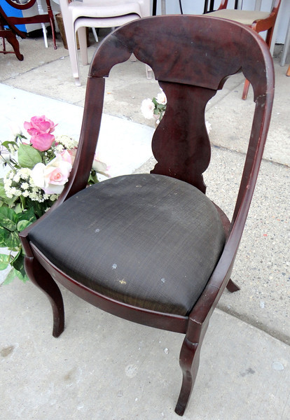 Antique Dark Solid Wood Rounded Back Accent Chair.  20 x 18 x 31.  <b>$85</b>
