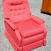 Comfortable Light Red and Gold Accent Chair in Excellent Condition.  28 x 31 x 34.  <b>$95</b>