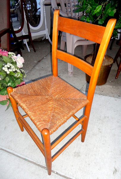 Attractive Solid Wood Closed Wicker Chair. 18 X 17 X 33.
