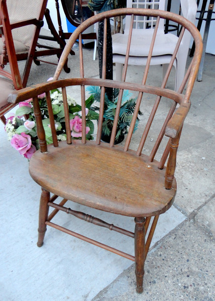Unusual Antique Tiger Oak Rounded Cane Back Side Chair.  19 x 23 x 31.  <b>$85</b>