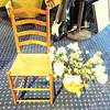 Solid Wood Hi Back Accent Chair. 17 x 16 x 39. <B>$35</B>