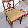 Cute Vintage Lyre Back Solid Wood Sewing Chair with Storage Compartment