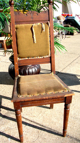 Ornate Solid Wood Corduroy High-Back Accent Chair.  19 x 18 x 46.  <b>$95</b>