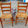 Set of 2 Antique Solid Wood Closed Wicker Chairs.  18 x 17 x 34.  <b>$150 for the set.</b>